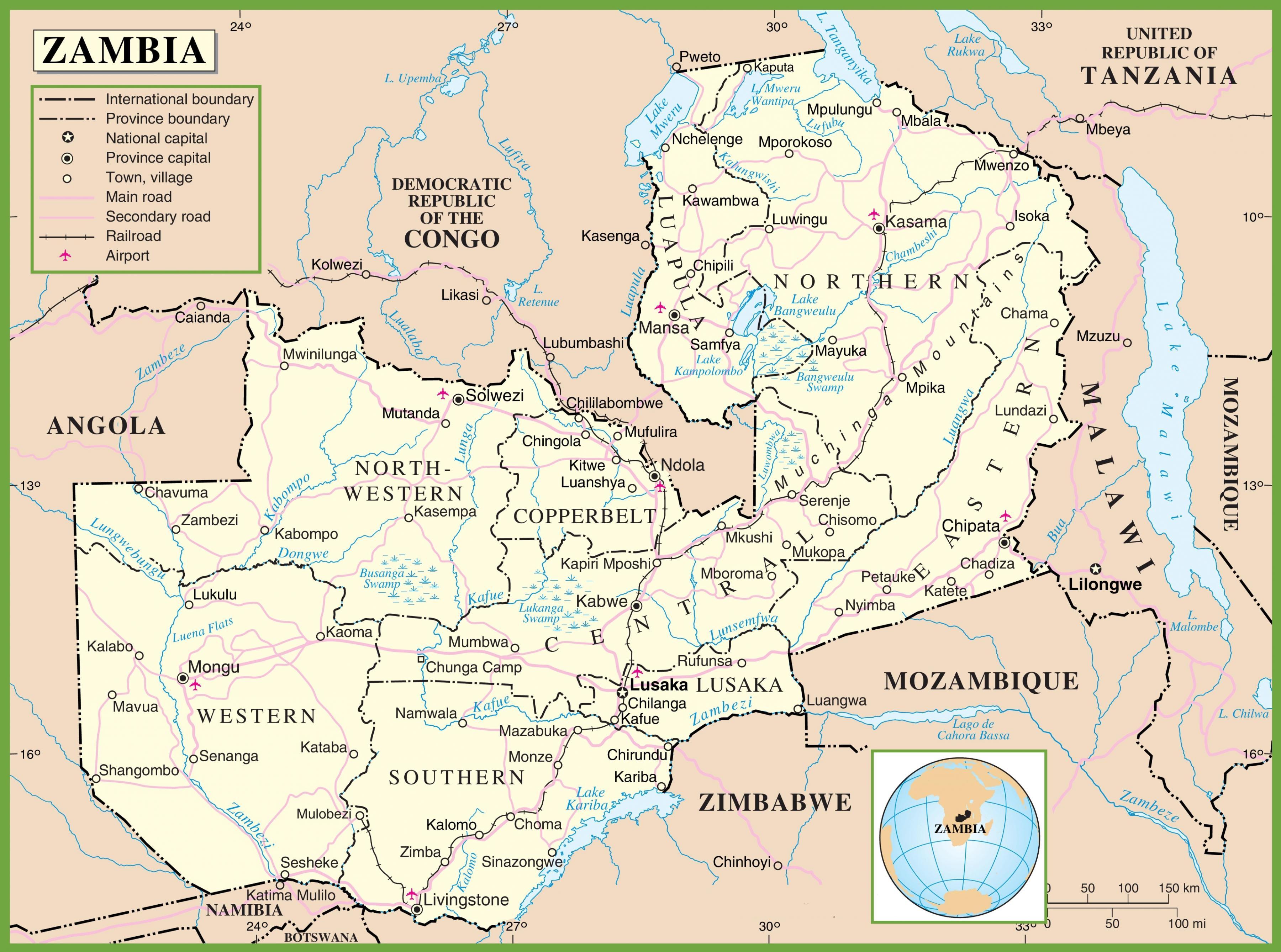 Carte Afrique Zambie.Zambie La Carte La Carte De La Zambie Afrique De L Est